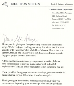 My very first children's book rejection letter. Ah, memories!