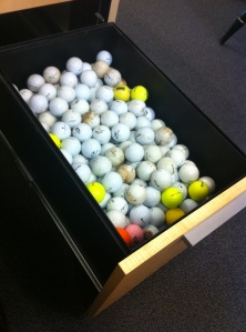 This is what 376 golf ball look like. If you want to see what a doofus looks like, check out the photo at the top of this blog.