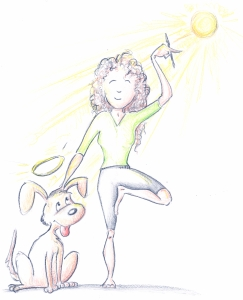 Pam wanted a writer in a yoga pose petting an angel dog.